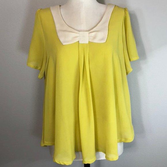 Vintage Crepe Short Sleeve Babydoll Bow Blouse